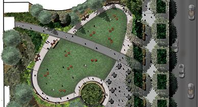 sherman street plaza, urban pocket park, denver parks, denver pocket parks, urban plaza, park renovation, cool parks, cash register building park
